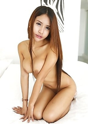 19yo busty Thai shemale Tontan strips and sucks white cock